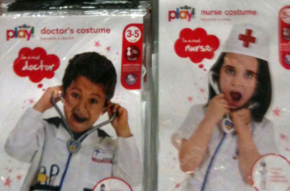 Dressing up outfits- boy as doctor girl as nurse