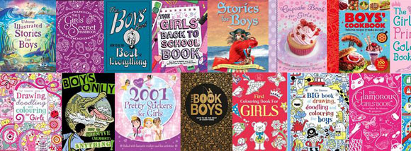 Montage of boys and girls book covers