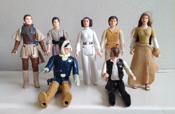 Five Princess Leia figures and two Han Solo toys from the original Star Wars