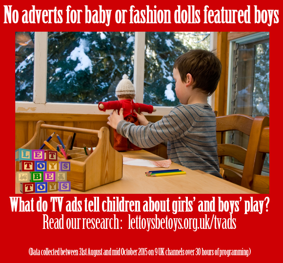No adverts for baby or fashion dolls featured boys - lettoysbetoys.org.uk/tvads