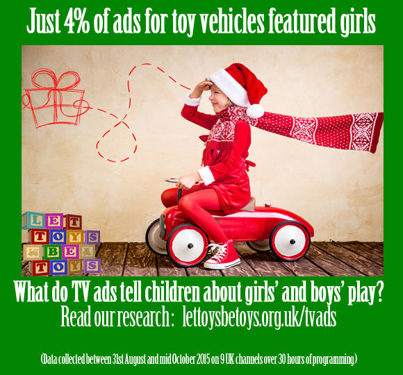 Just 4% of ads for toy vehicles featured girls. Read our research: lettoysbetoys.org.uk/tvads